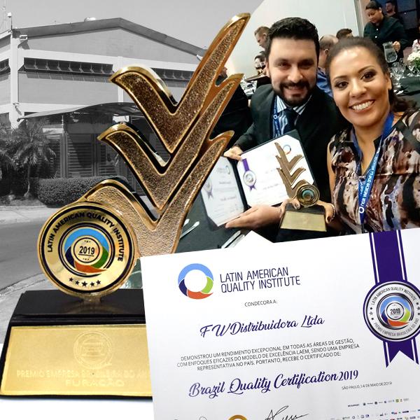 Furacão é reconhecida como Empresa Brasileira do Ano- Brasil Quality Certification 2019